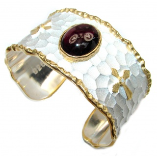 Enchanted Beauty 27ctw Garnet 24K Gold over .925 Sterling Silver antique patina Bracelet / Cuff
