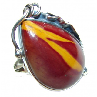 Huge Boho style Mookaite .925 Sterling Silver handmade ring size 6 3/4 adjustable
