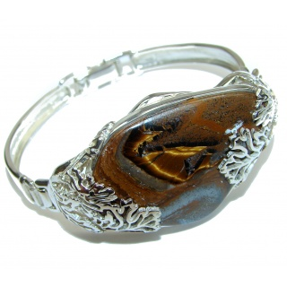 Simply Gorgeous Silky Golden Tigers Eye .925 Sterling Silver Bracelet