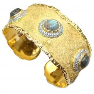 Enchanted Beauty Labradorite 24K Gold over .925 Sterling Silver handcrafted Bracelet / Cuff