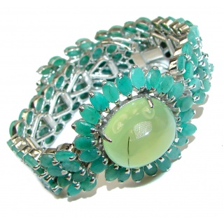 Green Royalty Huge Emerald Prehnite .925 Sterling Silver handcrafted Bracelet