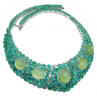 Green Royalty Huge authentic Emerald Prehnite .925 Sterling Silver handcrafted necklace