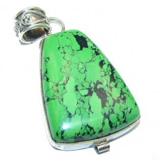 Massive Queen Green Turquoise .925 Sterling Silver Pendant