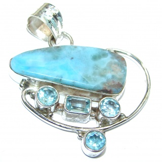 Huge Authentic Caribbean Larimar .925 Sterling Silver handmade pendant