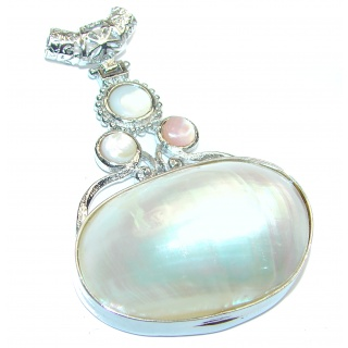 Huge Great Blister Pearl .925 Sterling Silver handcrafted pendant