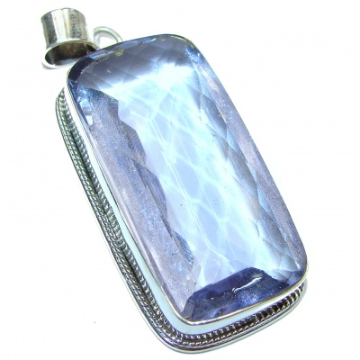 Large Perfect facteted Lilac Quartz .925 Sterling Silver handmade pendant