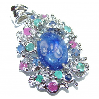 Sublime genuine Tanzanite .925 Sterling Silver handmade Pendant