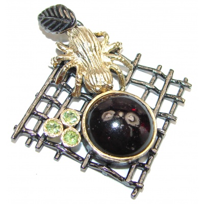 Large genuine Garnet black rhodium .925 Sterling Silver handmade Pendant