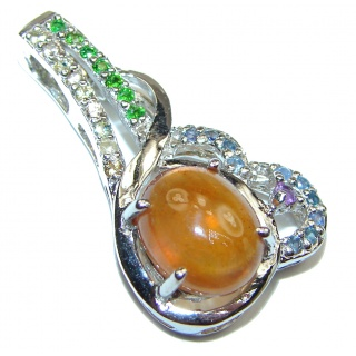 Pure Joy Red Hessonite Garnet .925 Sterling Silver Pendant