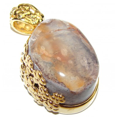 Unique Design Natural Mexican Fire Opal 18K Gold over .925 Sterling Silver handmade Pendant