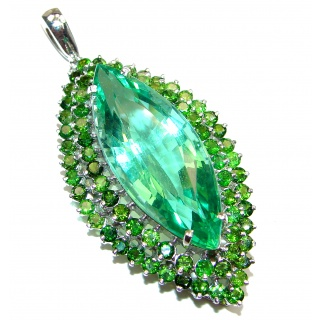 LARGE Treasure of Mother Nature Green Topaz .925 Sterling Silver handcrafted pendant