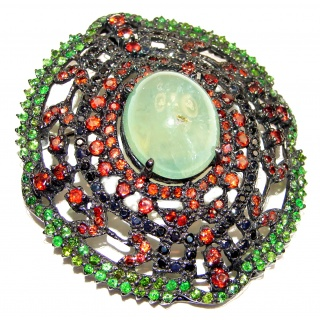 Vintage style Beauty genuine Prehnite Garnet black rhodium over .925 Sterling Silver handmade LARGE Pendant - Brooch