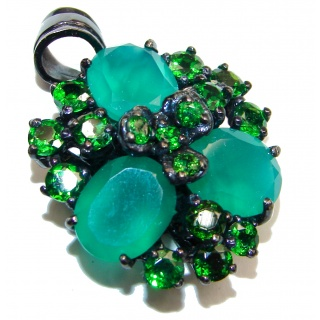 Genuine Emerald black rhodium over .925 Sterling Silver handmade Pendant