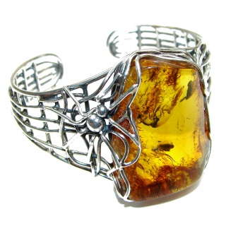 One of the kind Huge Spider's Web genuine Amber .925 Sterling Silver handmade Bracelet / Cuff