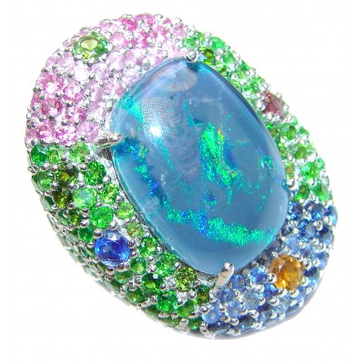 Large Australian Doublet Opal 24K Gold over .925 Sterling Silver handcrafted ring size 6 1/4