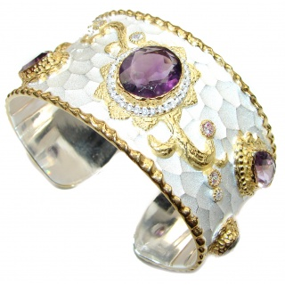 Protective Stone Bracelet with authentic Amethyst & Diamonds 24K gold and Silver in Antique White Patina