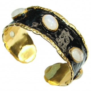 Stunning Authentic Fire Moonstone Nacre 18K Gold over .925 Sterling Silver handcrafted Statement Bracelet / Cuff