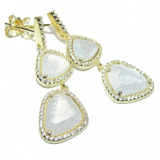 Genuine faceted Rainbow Moonstone 18K Gold over .925 Sterling Silver handcrafted stud hoop Earrings