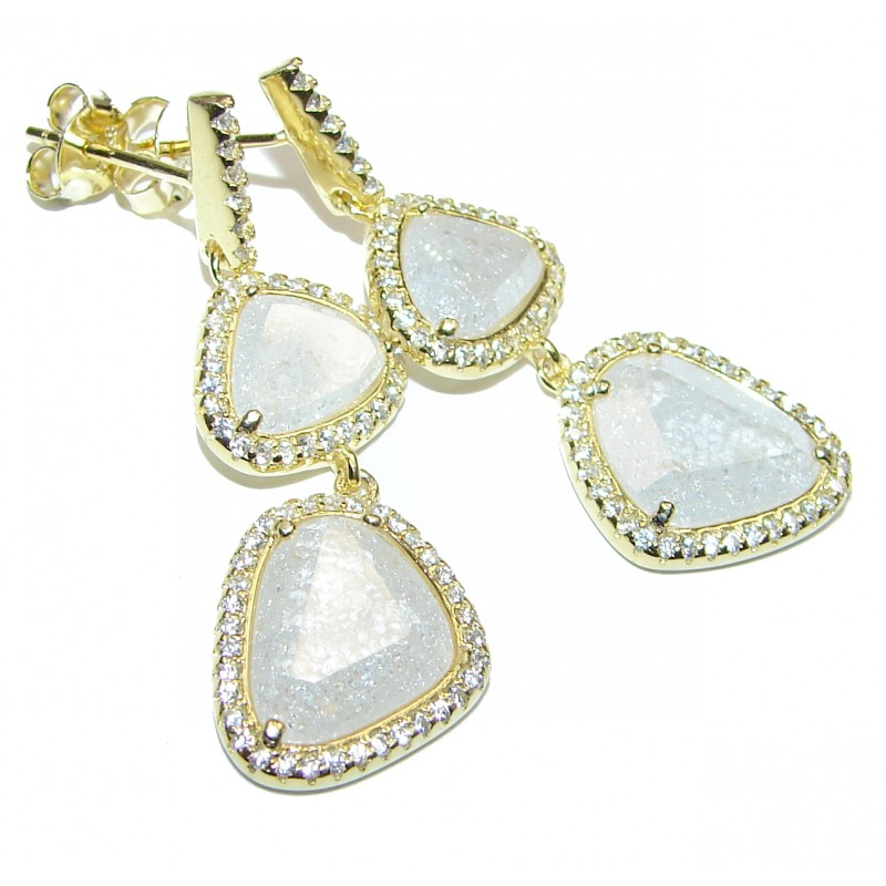 Genuine faceted Rainbow Moonstone 18K Gold over .925 Sterling Silver handcrafted stud Earrings