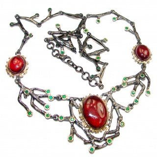 Rose Garden Genuine Garnet black Rhodium over .925 Sterling Silver handmade necklace