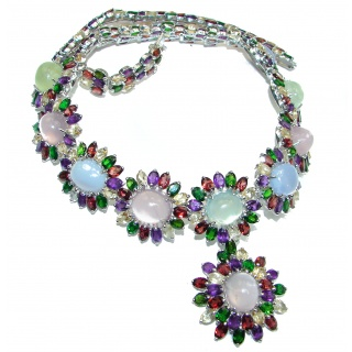 Marie Antoinette's STYLE authentic Multigem .925 Sterling Silver handcrafted Necklace