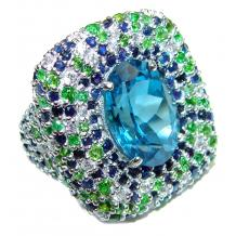 Spectacular Genuine 25ctw Swiss Blue Topaz  .925 Sterling Silver handcrafted  Statement Ring size 8