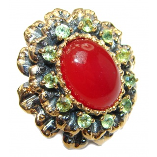 Large Natural Carnelian 18K Gold over .925 Sterling Silver handcrafted ring size 6 1/4