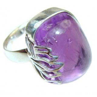 Spectacular genuine 38ctw Amethyst .925 Sterling Silver handcrafted Ring size 7 adjustable
