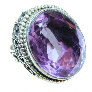 Vintage Style Natural Amethyst .925 Sterling Silver handcrafted Ring s. 5 3/4