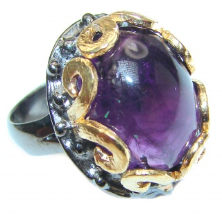 Spectacular Natural Amethyst 18K Gold over .925 Sterling Silver handcrafted ring size 7 adjustable