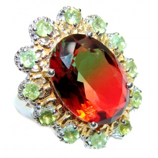 HUGE Watermelon Tourmaline color Topaz 18K Gold over .925 Sterling Silver handcrafted Ring s. 6 1/4