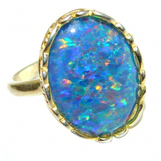 Australian Triplet Opal 14K Gold over .925 Sterling Silver handcrafted ring size 8