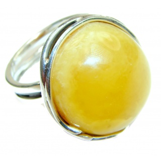 Large Genuine Butterscotch Baltic Amber .925 Sterling Silver handmade Ring size 8 adjustable