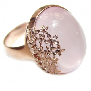 Authentic Rose Quartz Rose Gold .925 Sterling Silver handcrafted ring s. 8