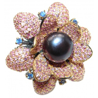 Real Black Pearl & 600 Pink Sapphire Stones .925 Sterling Silver Bali handmade ring size 7 1/4