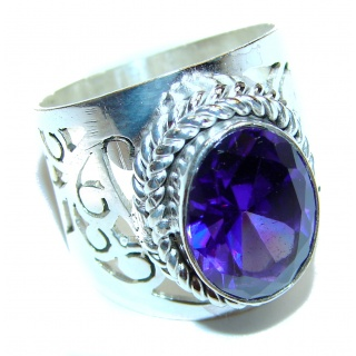 Sweet Heart Purple Heart Topaz .925 Silver handcrafted Ring s. 7 1/2