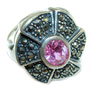 Spectacular genuine Pink Topaz .925 Sterling Silver handcrafted Ring size 7