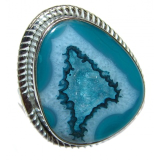 Huge Exotic Druzy Agate Sterling Silver Ring s. 7 1/4