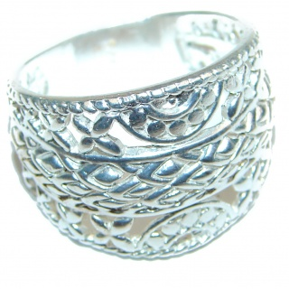 Large Bali made .925 Sterling Silver handcrafted Ring s. 10 3/4