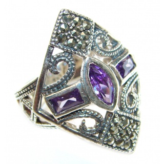 Sweet Heart Purple Heart Topaz .925 Silver handcrafted Ring s. 7