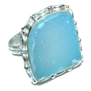 Huge Exotic Druzy Agate Sterling Silver Ring s. 7 3/4