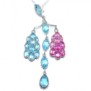 Great Masterpiece genuine Tourmaline Swiss Blue Topaz .925 Sterling Silver handmade necklace