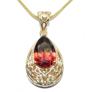 Great Masterpiece genuine Tourmaline .925 Sterling Silver handmade necklace