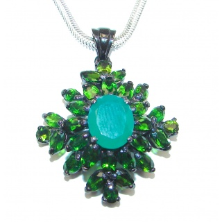 Emerald Chrome Diopside black rhodium over .925 Sterling Silver handcrafted necklace