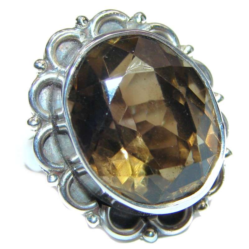 Champagne Smoky Topaz .925 Sterling Silver Ring size 6 3/4