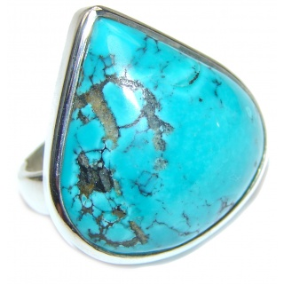 Authentic Turquoise .925 Sterling Silver handcrafted ring; s. 6 1/4