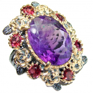 Spectacular Natural Amethyst 18K Gold over .925 Sterling Silver handcrafted ring size 6 1/4