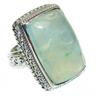 Sodlid Moss Prehnite .925 Sterling Silver ring; s. 7