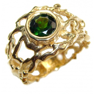Natural Chrome Diopside 24K Rose Gold over .925 Sterling Silver Statement ring size 6