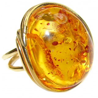 Genuine Baltic Amber 14K Gold over .925 Sterling Silver handmade Ring size 8 adjustable